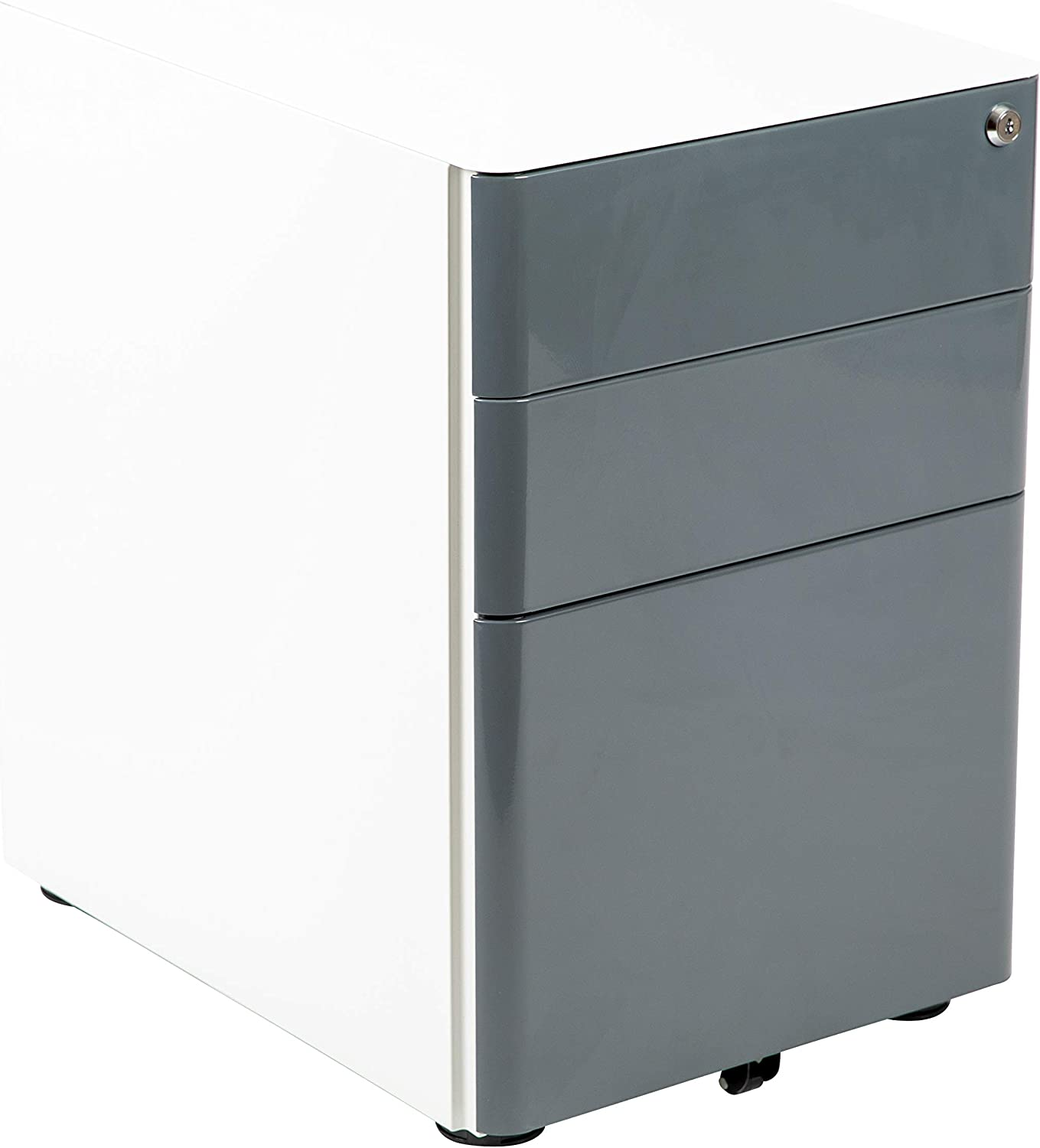 Flash Furniture Modern 3-Drawer Mobile Locking Filing Cabinet with Anti-Tilt Mechanism & Letter/Legal Drawer, White with Charcoal Faceplate