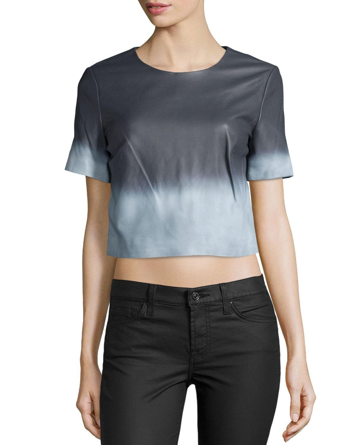 Zac Zac Posen Alex Short-Sleeve Ombre Leather Blouse (White/Summer Storm, 4)
