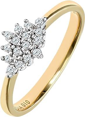 sortija de oro amarillo on diamantes blancos en forma de flor