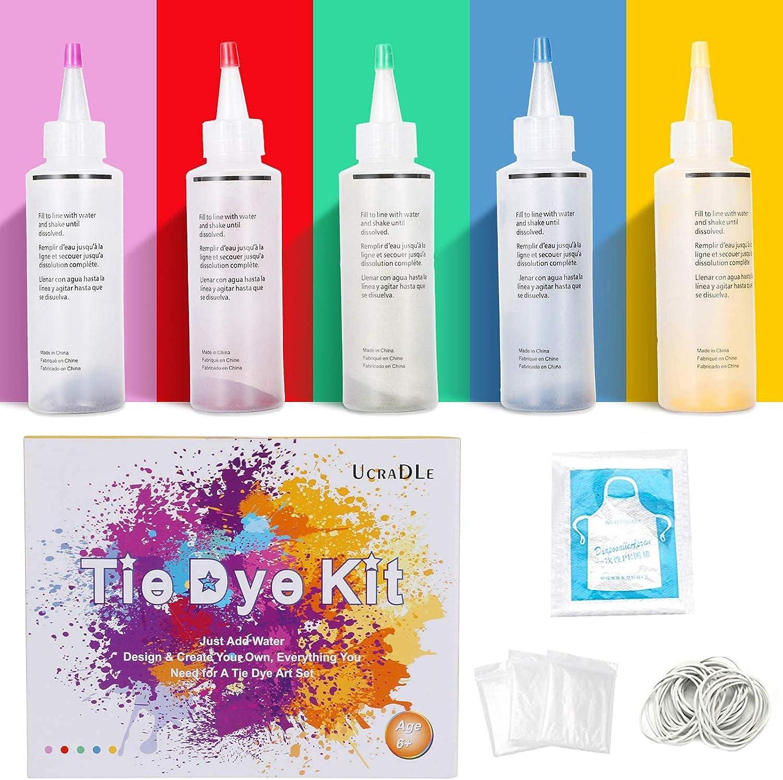 Ucradle Tie Dye Kit, 5 Colores Tie-Dye Kit Telas Textiles Pinturas Tela Vibrante Textil Permanente Uso Tie Dye Art Set con 40 Piezas de Bandas de Goma ...