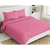 haus & kinder Classic Romantic Moments 186 TC, 100% Cotton Double Bedsheet with 2 Pillow Covers (Birds Carrot Pink)