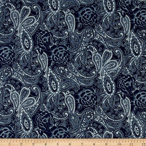 - TELIO Stretch Denim Paisley Print Dark Blue Fabric by The Yard