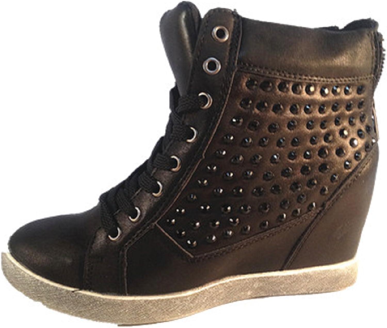 fashionfolie Basket Mode Compensées Montante Femme Strass Fille Diamant Talon Compensé 8 cm Intérieur Cuir Noir L22 118