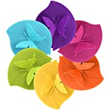 Silicone Cup Lids - Creative Butterfly Mug Cover From ME.FAN - Anti-dust Airtight Seal Silicone Drink Cup Lids - Hot Cup Lids 6 Set In Bright Colors