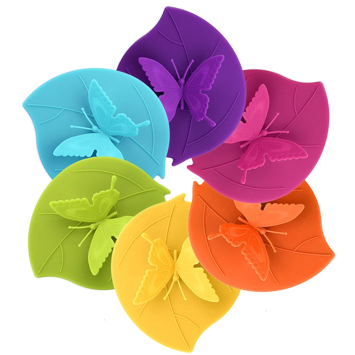 Silicone Cup Lids - Creative Butterfly Mug Cover From ME.FAN - Anti-dust Airtight Seal Silicone Drink Cup Lids - Hot Cup Lids 6 Set In Bright Colors by ME.FAN