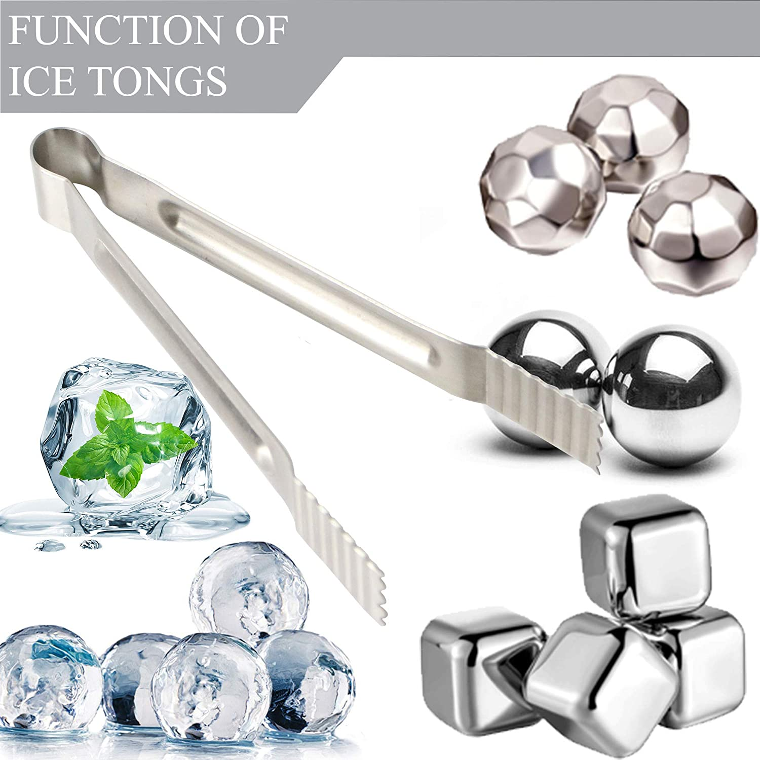 |Set of 2| Bar Mini Serving Sugar Tongs for Home Restaurant /& Party Kitchen Silver Catering Ice Bucket Food 7 Premium Stainless Steel Ice Tongs by Okey Kitchen