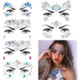 6 Sets Women Mermaid Face Gems Glitter,Rhinestone Rave Festival Face Jewels,Crystals Face Stickers, Eyes Face Body Temporary Tattoos