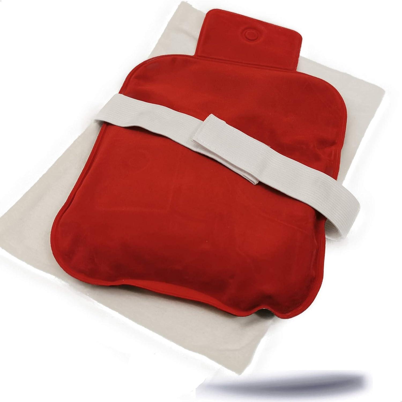Kerafactum Cojín de calor para espalda y hombros | Microondas de calor con funda protectora | revestimiento suave y reutilizable botella de agua caliente natural Moor para niños y adultos