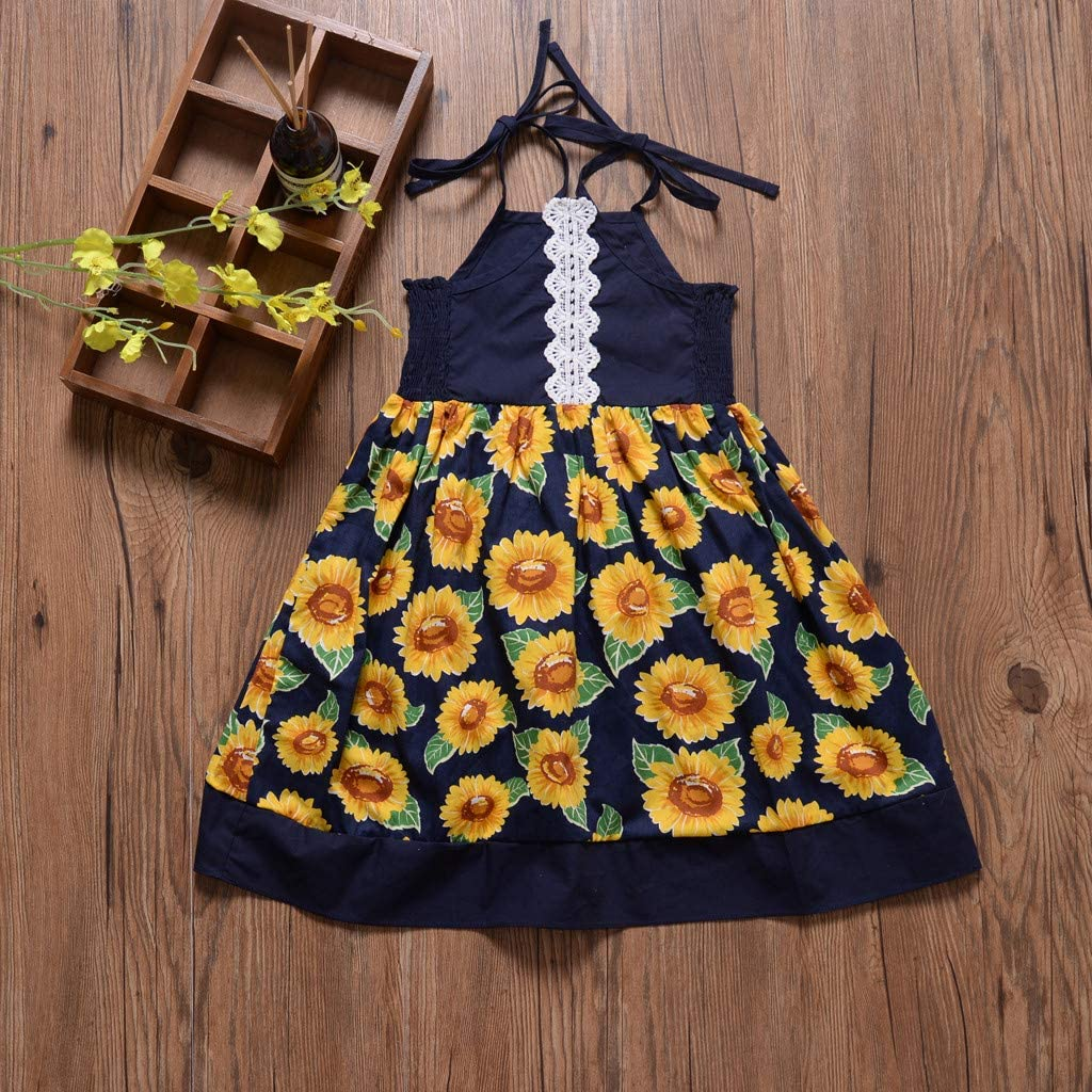 Baby Girls Dress Summer Suspenders Lace Sunflowers Sundress Clothes Set 0-4 Years Todder Newborn Girl Cotton Skirt