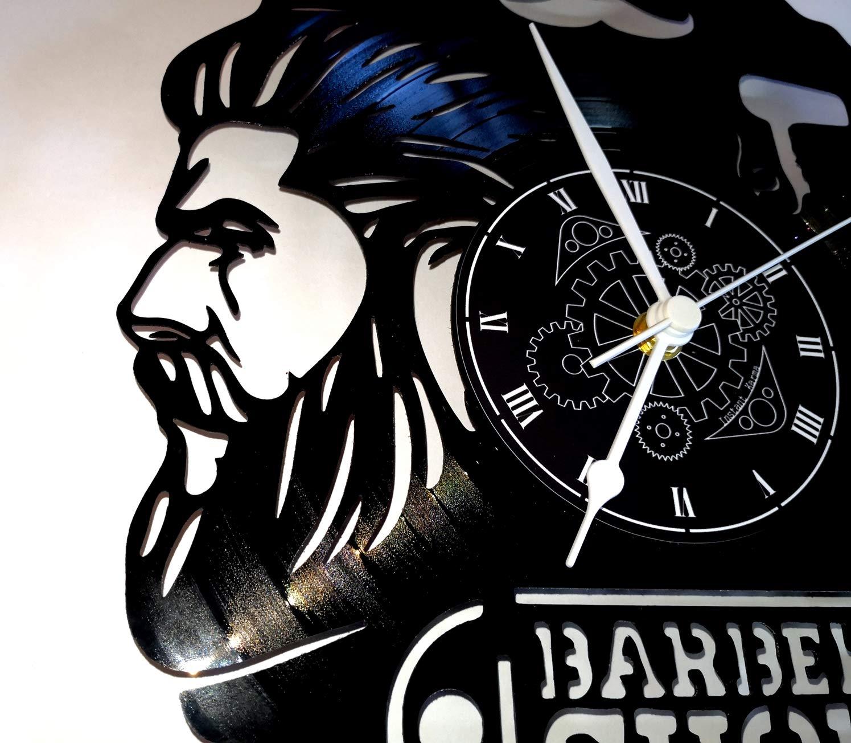 Reloj de vinilo de pared LP 33 RPM Instant Karma Idea regalo Vintage Handmade - Peluquería Pelo Barba Salón Belleza Peluquería Hombre Barber Shop: ...