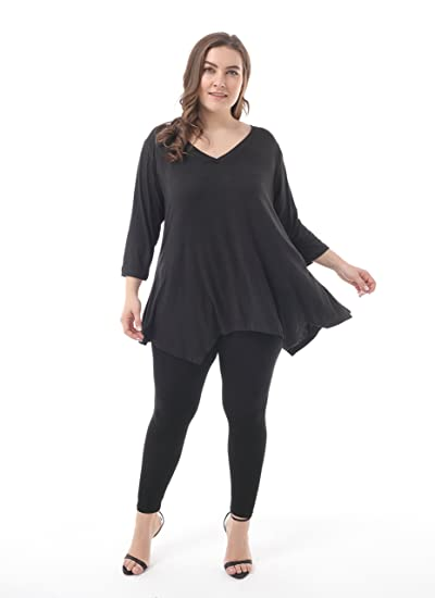 f80fb2faab919d ZERDOCEAN Women's Plus Size Printed 3/4 Sleeve Tunic Top Loose Shirt at  Amazon Women's Clothing store: