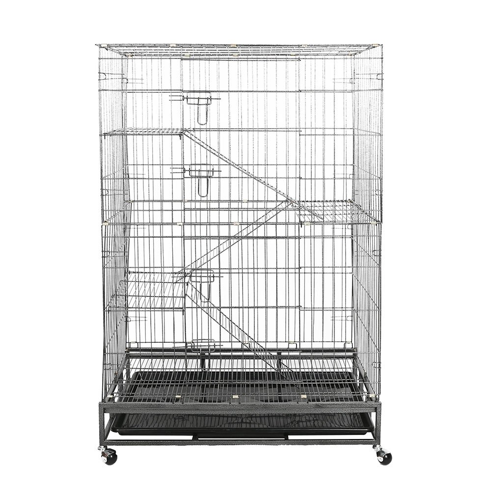 KARMAS PRODUCT Pet Cage Cat Dog House With Climbing Ladders & Rest Benches Metal Cage Black