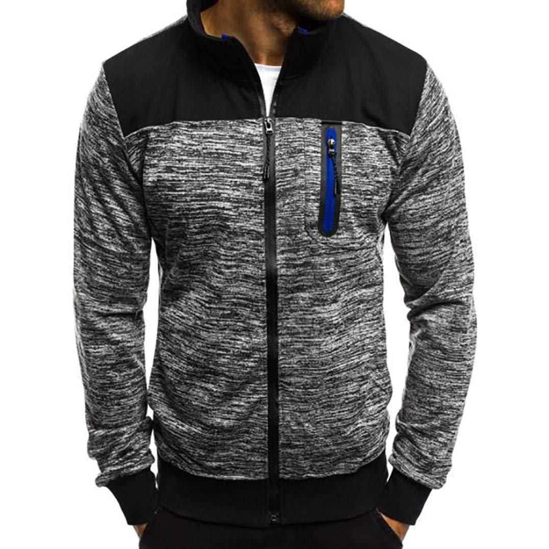 kaifongfu Men Jacket Stand Collar Men Long Sleeve Colorblock Sweater Tops (Gray,XXL)