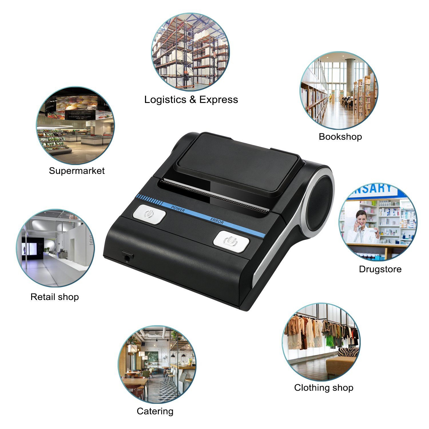 Meihengtong Bluetooth Receipt Printers Wireless Thermal Printer 80mm  Compatible with Android/iOS/Windows System ESC/POS Print Commands Set for  Office