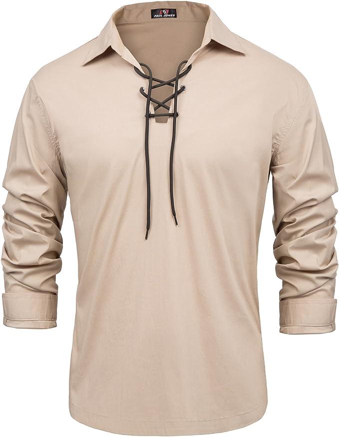 Victorian Men's Shirts- Wingtip, Gambler, Bib, Collarless PJ PAUL JONES Mens Cotton Scottish Jacobite Ghillie Kilt Lace-Up Shirt Long Sleeve $24.99 AT vintagedancer.com
