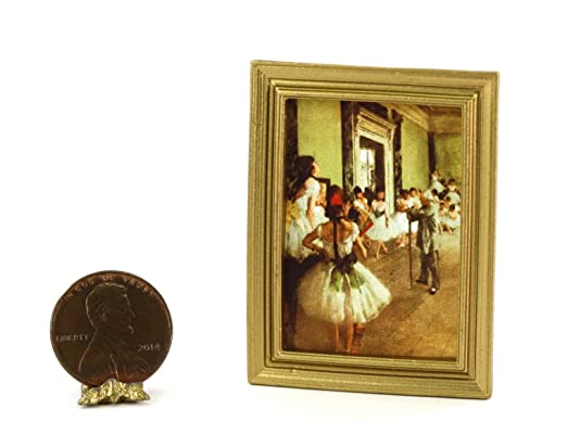 Dollhouse Miniature 1:12 Gold Framed Print of a Ballet Lesson Painting