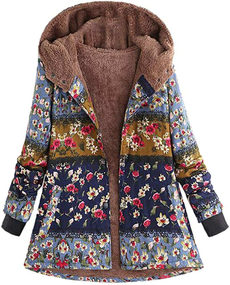 Trench Coats for Women,Women Winter Hooded Long Sleeve Vintage Print Fleece Thicken Hasp Coats Outwear