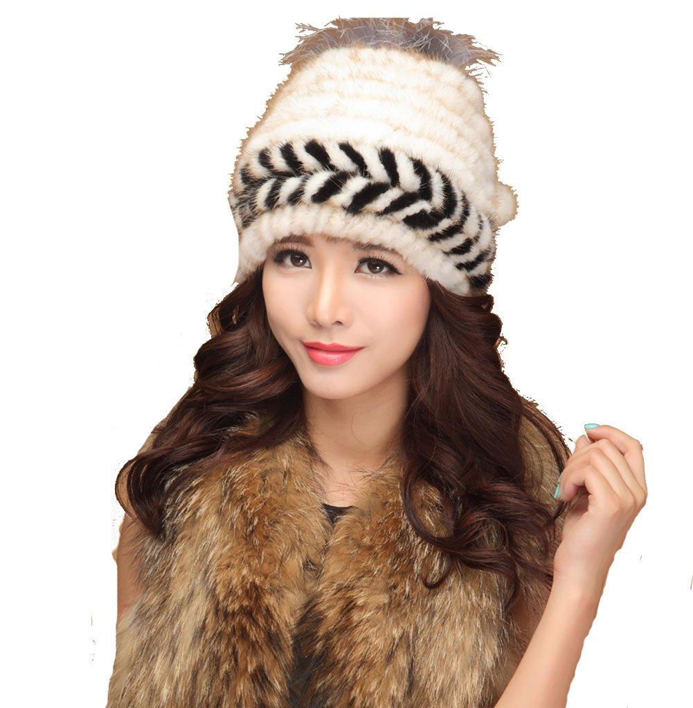 MINGXINTECH womens real rabbit fur knit weave hat snow skiing winter warm hearband