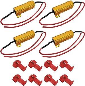 LivTee 4Pcs 50W 6ohm Load Resistors - Fix LED Bulb Fast Hyper Flash Turn Signal Blink Error Code