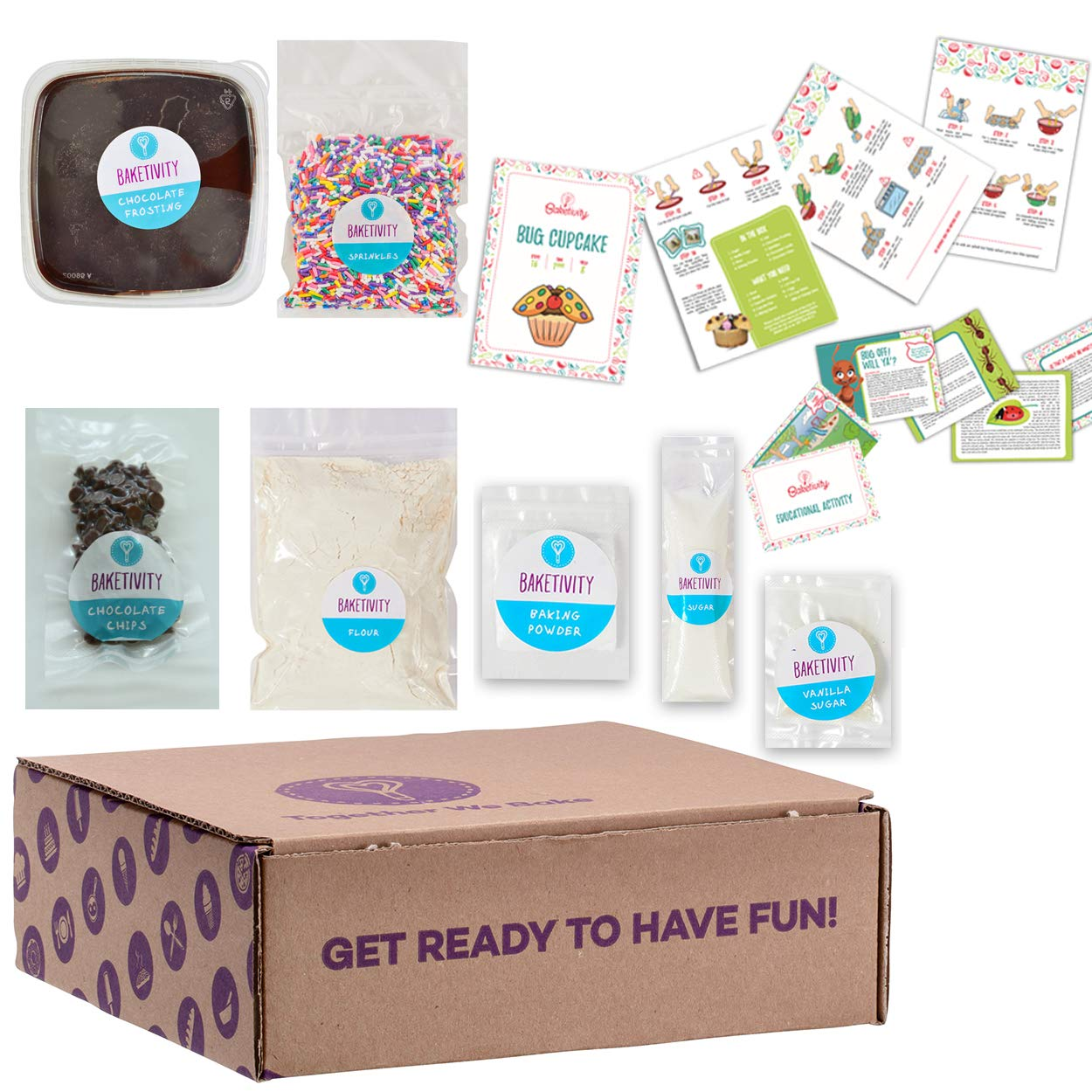 BAKETIVITY Kids Baking DIY Activity Kit - Bake Delicious Bug Cupcakes With Pre-Measured Ingredients - Best Gift Idea For Boys And Girls Ages 6-12 by Baketivity