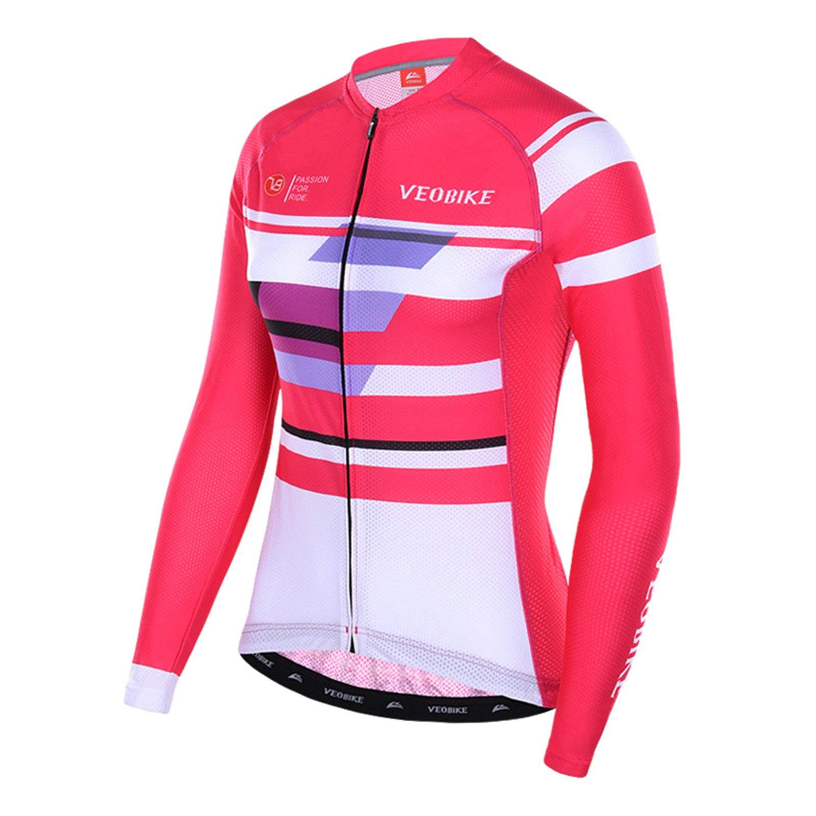 Aooaz Women's Cycling Clothes Full Sleeve Riding Wear Long Sleeve Mountain Bike T Shirts Pink Size S