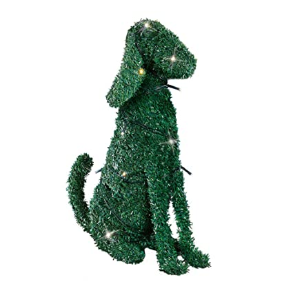 Amazon.com: Collections Lighted Boxwood Topiary Animal Dog Sculpture ...