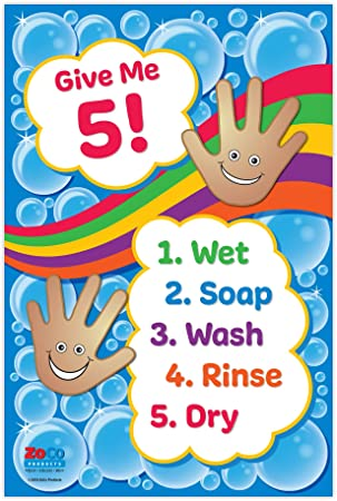 Amazon.com : Give Me 5 Washing Hands Poster - Daycare Posters ...