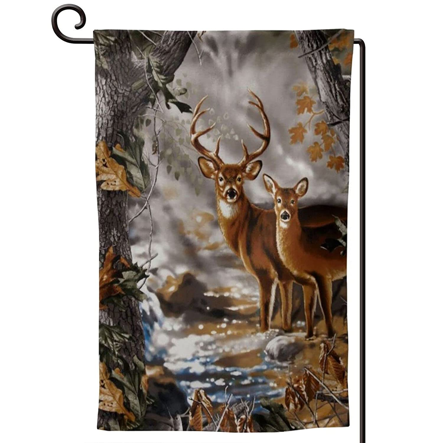 Tree Camouflage Deer Garden Flags 12x18 Double Sided Spring Summer Outdoor Interior Decoration Banner