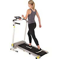 Sunny Health & Fitness SF-T7610 Electric Walking Folding Treadmill with LCD Display and Device Holder, 220 LB Max Weight…