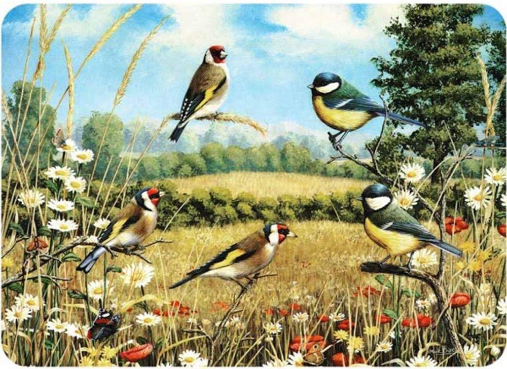 Premium Glass Chopping Board - Goldfinch Birds Design Large Kitchen Worktop Saver Protector