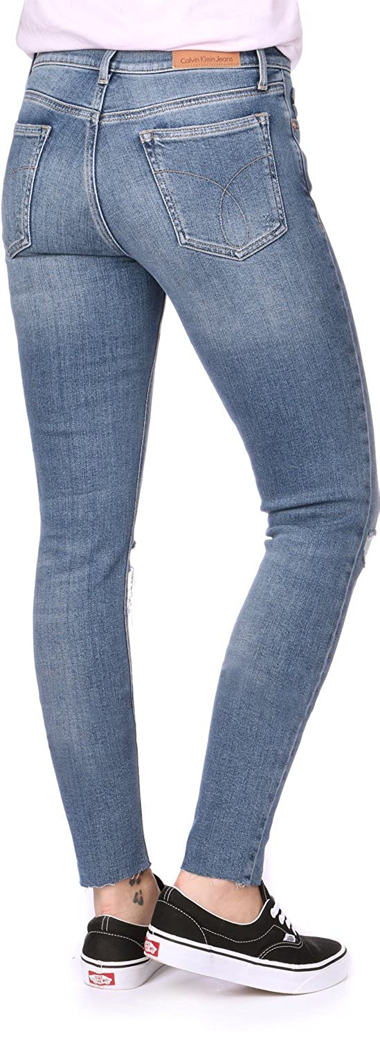Calvin Klein Mid Rise Skinny Ankle Raw-Thermal, Vaqueros Mujer
