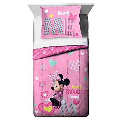 Franco Manufacturing Disney Minnie Mouse Kid's Bedding Reversible Twin/Full Comforter with Sham: Home & Kitchen