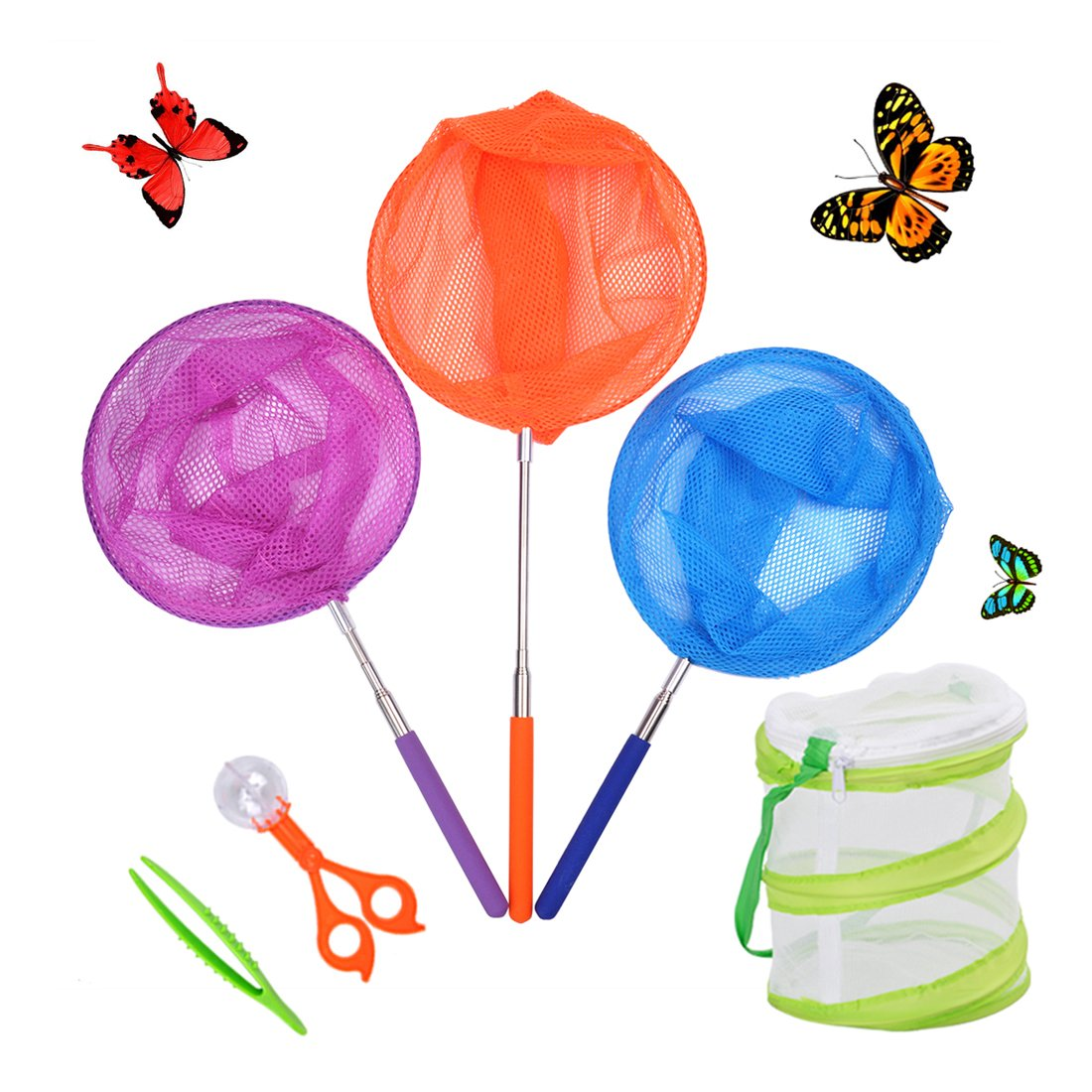 DEWEL Telescopic Butterfly NetKit Kids,3 Pack Bug Insect Catching Net Extendable 34 inch,pop up insect mesh cage,Butterfly Tweezers