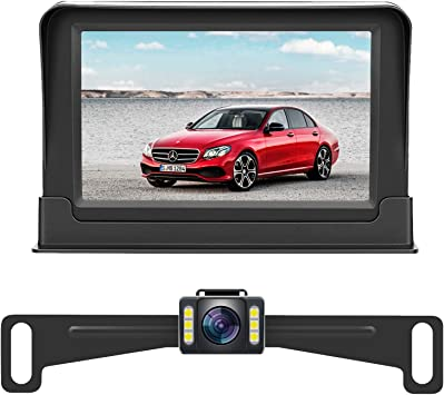 Rohent 720P HD Digital Wireless Backup Camera,Hitch Rear View Camera with 4.3Monitor Kit for Cars Pickups,Trucks,Small RVs Adjust Front//Rear View with Super Night Vision Camera IP69K Waterproof