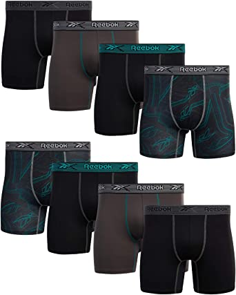 Reebok Mens Performance Boxer Briefs with Functional Fly 4 Pack