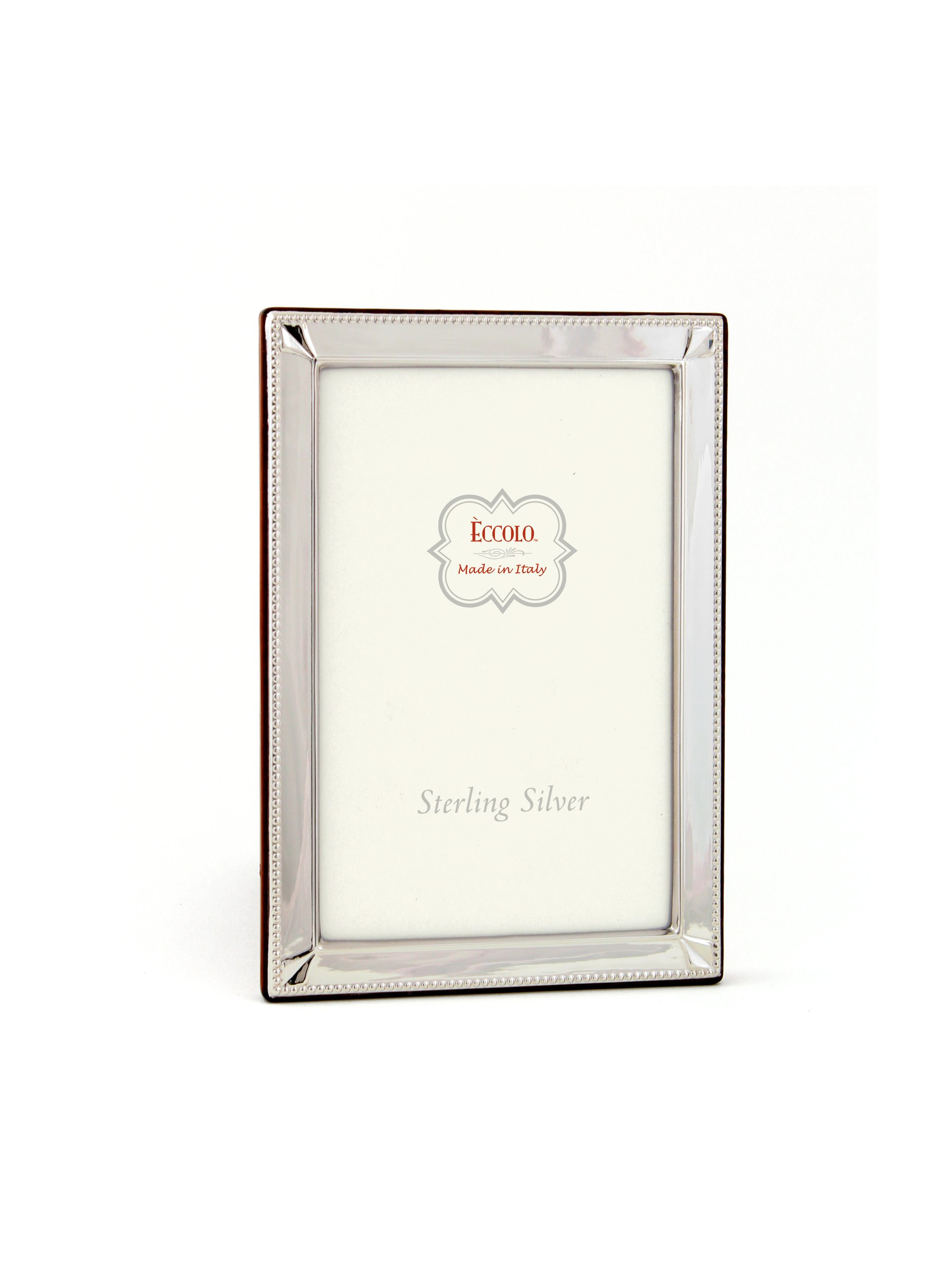 Eccolo Made In Italy Sterling Silver Frame, Diamond Corners, Holds a 4 x 6-Inch Photo