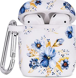 Airpod Case AIRSPO Airpods Case Cover for Apple AirPods 2&1 Cute Airpod Case for Girls Silicone Protective Skin Airpods Accessories with Keychain (Blue/Daffodils)