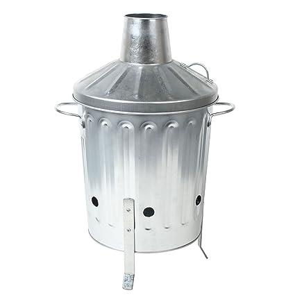 CrazyGadget® 15L 15 litros Metal galvanizado incinerador Mini jardín Fire Bin barbacoa para grabación de