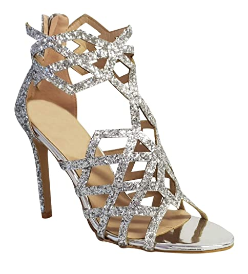 e7668ea825b 0115 New Ladies Glitter Shimmer High Heel Evening Party Sandals Size 3-8   Amazon.co.uk  Shoes   Bags