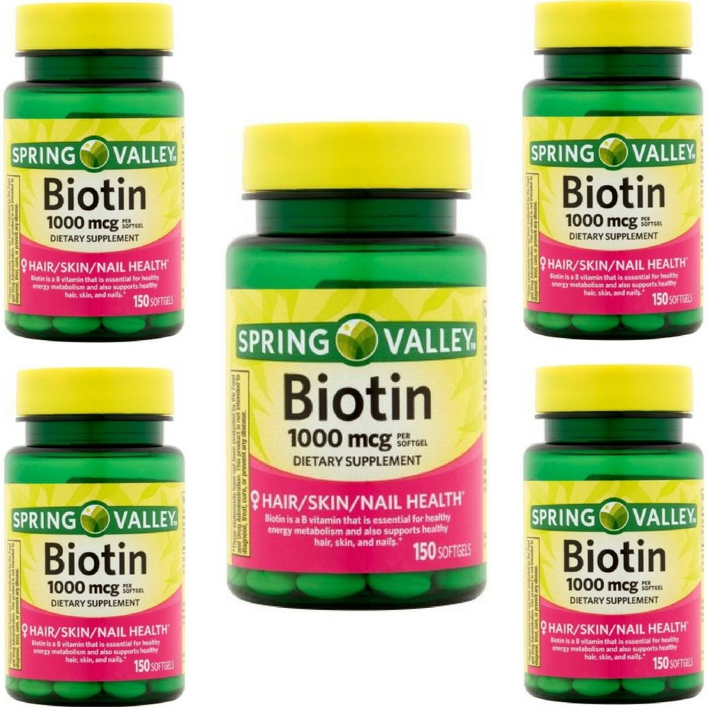 New Spring Valley Biotin 1000mcg 150 Softgels Skin Hair Nail Health Supplement Pack Of 5