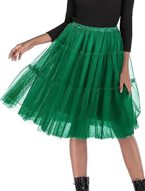 Bridesmay - Falda tutú de Tul para Fiesta de graduación - Verde ...