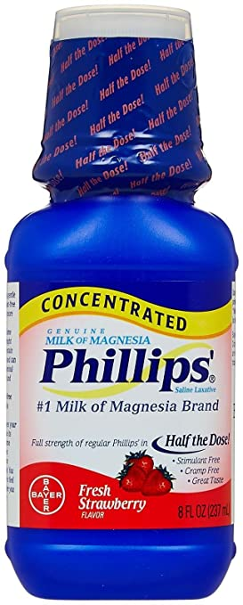 Phillips Concentrated Milk of Magnesia Saline Laxative, Fresh Strawberry ...