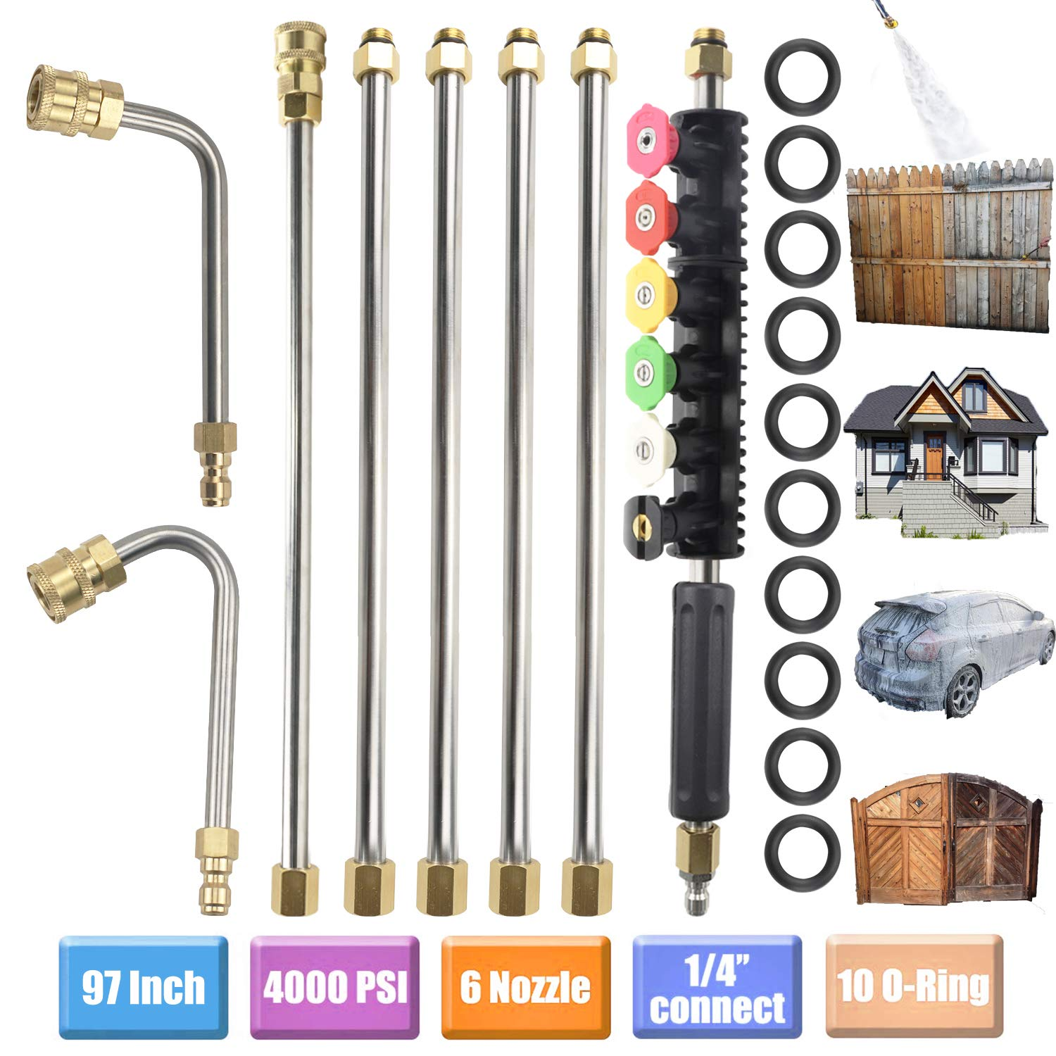 Upgraded Version Pressure Washer Extension Wand Set, Replacable Power Washer Lance with 6 Spray Nozzle Tips Design,90 Degrees +U Curved Rod, 1/4''Quick Connect, 10 Replacable Anti-Leaked Ring 4000 PSI by QIQU