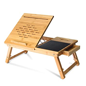 Powseed Foldable Bamboo Laptop Table Adjustable Multifunctional Lap Desk  Bed Tray For Notebook Computer Tablet PC