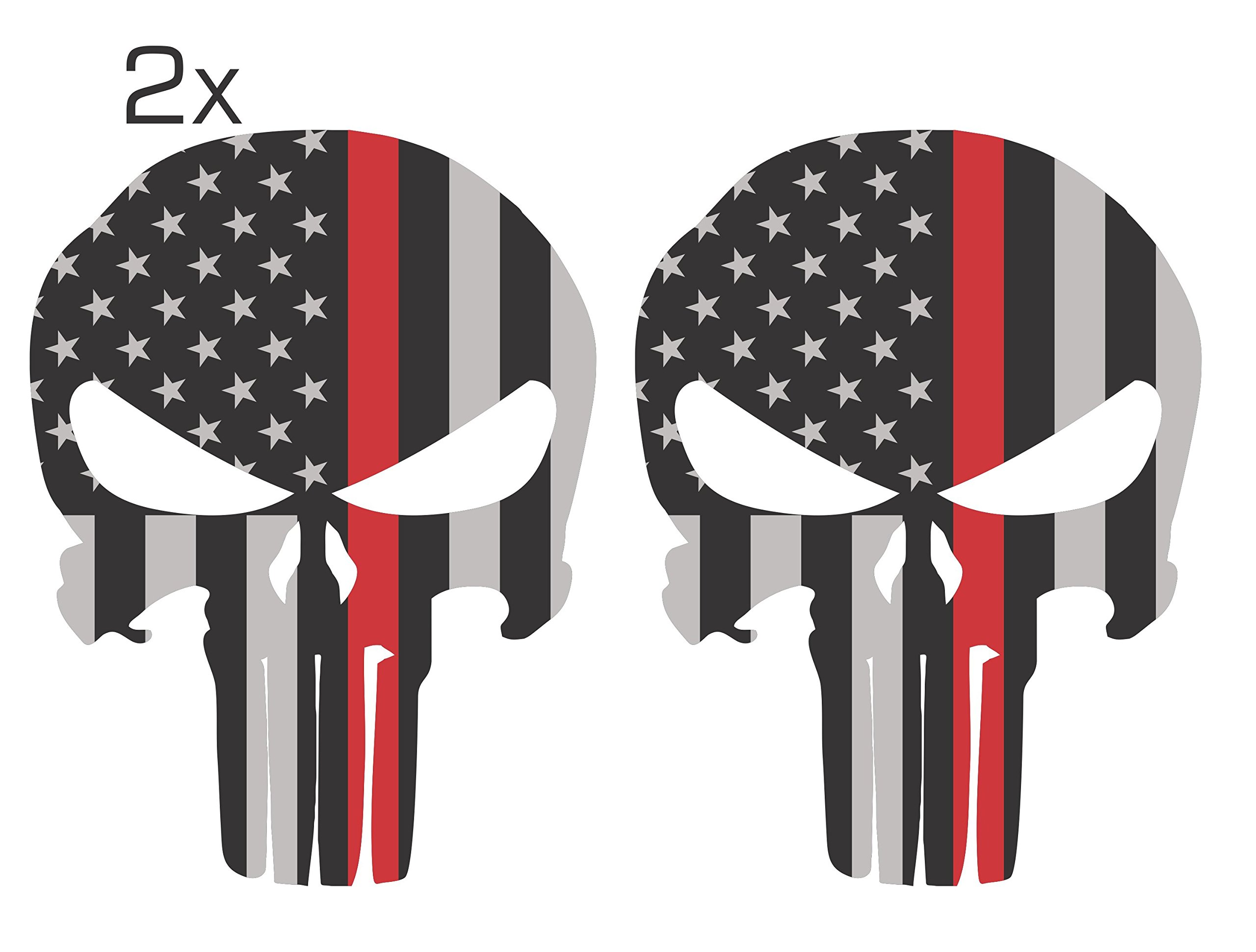 Official Red Line Punisher Skull 3M/Orafol Decal Supporting Our Firefighter Heroes Various Sizes Pack of 2 (4.5'' x 6'', Grey Solid Punisher Skull) by Ohana Graphix