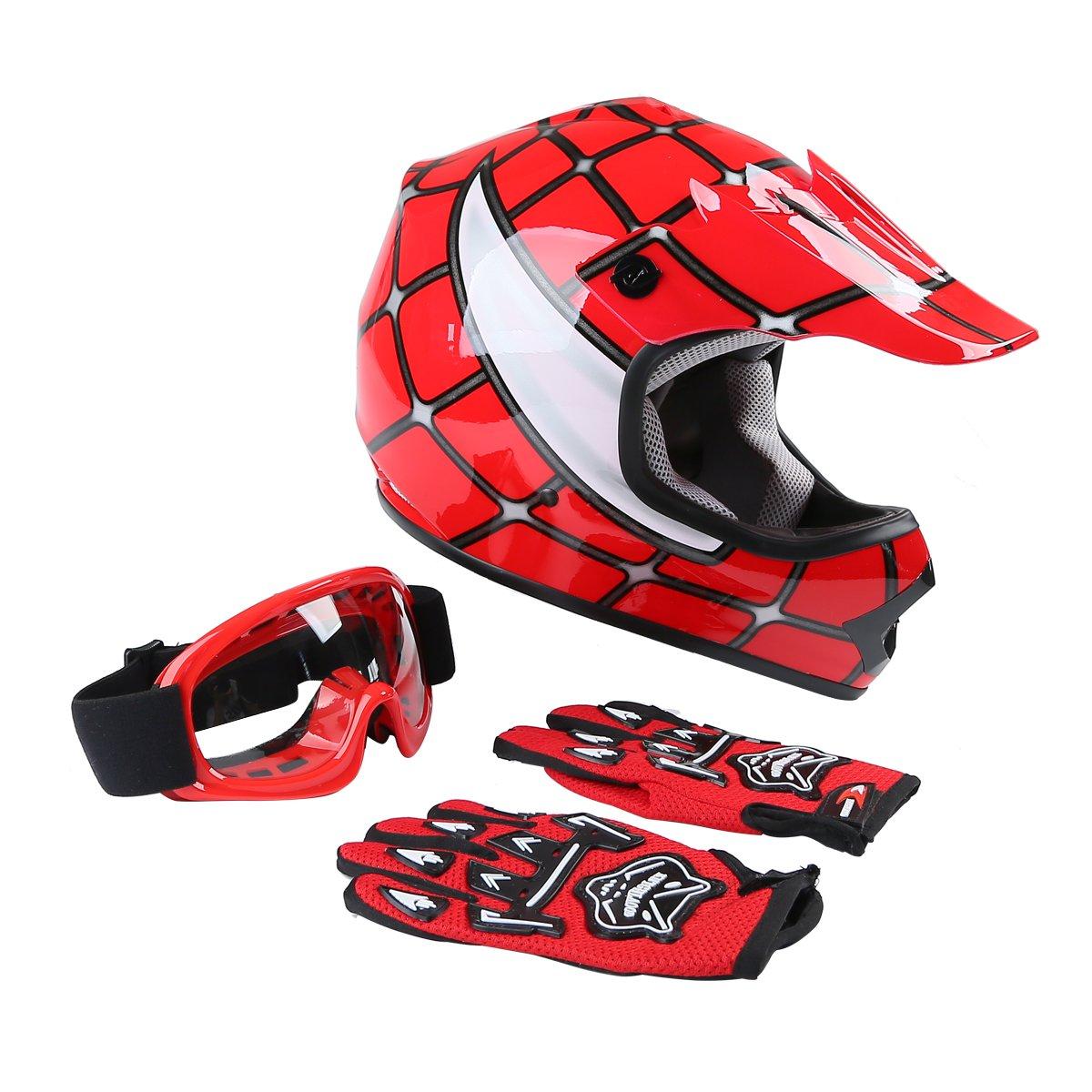 Tengchang Youth Kids Motocross Offroad Street Dirt Bike Helmet Goggles Gloves Atv Mx Helmet Red Spider