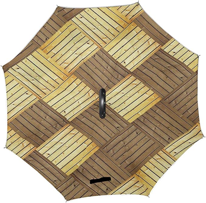 Double Layer Inverted Inverted Umbrella Is Light And Sturdy Dark Wood Texture Background Surface Old Reverse Umbrella And Windproof Umbrella Edge Nig