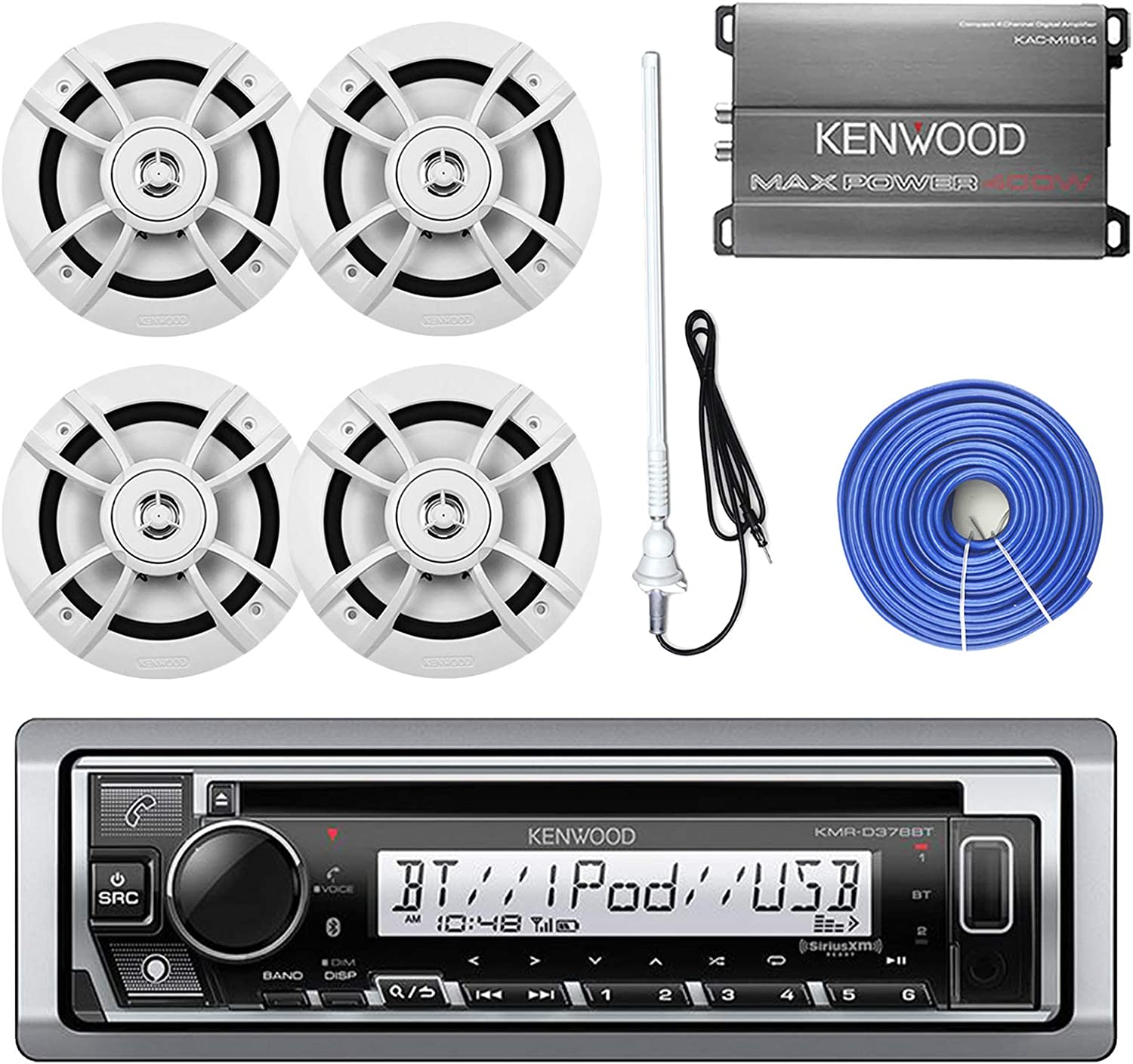 Kenwood Marine Boat Audio Bluetooth USB Receiver Bundle Combo with 4x Kicker KM654 6.5 Inch Audio Multi Color LED Speakers W// Light Remote Controller 14-Gauge 50 Foot Speaker Wire