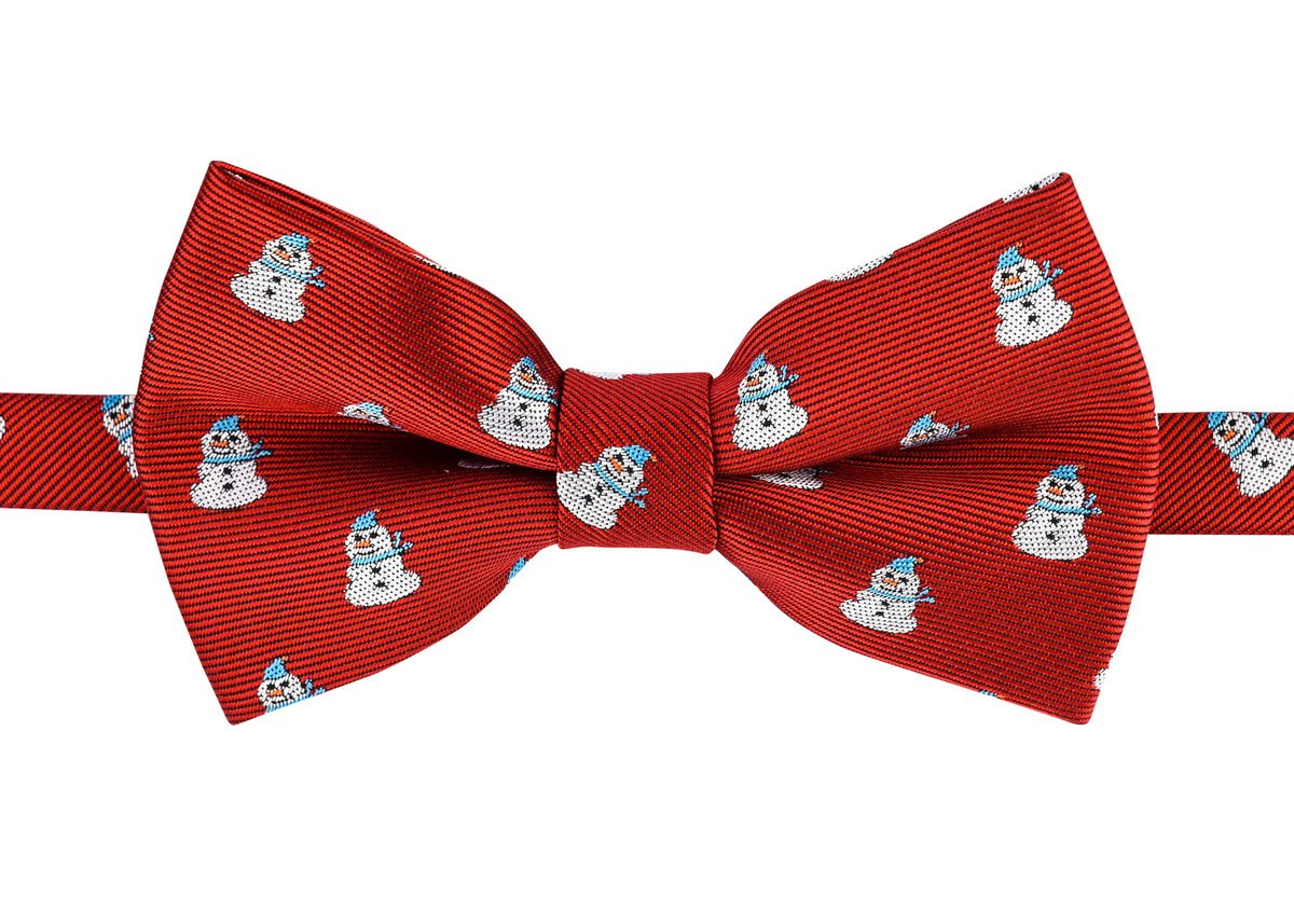 Retreez Christmas Cheerful Snowman Woven Microfiber Pre-tied Boy's Bow Tie - Red, Christmas Gift - 4-7 years