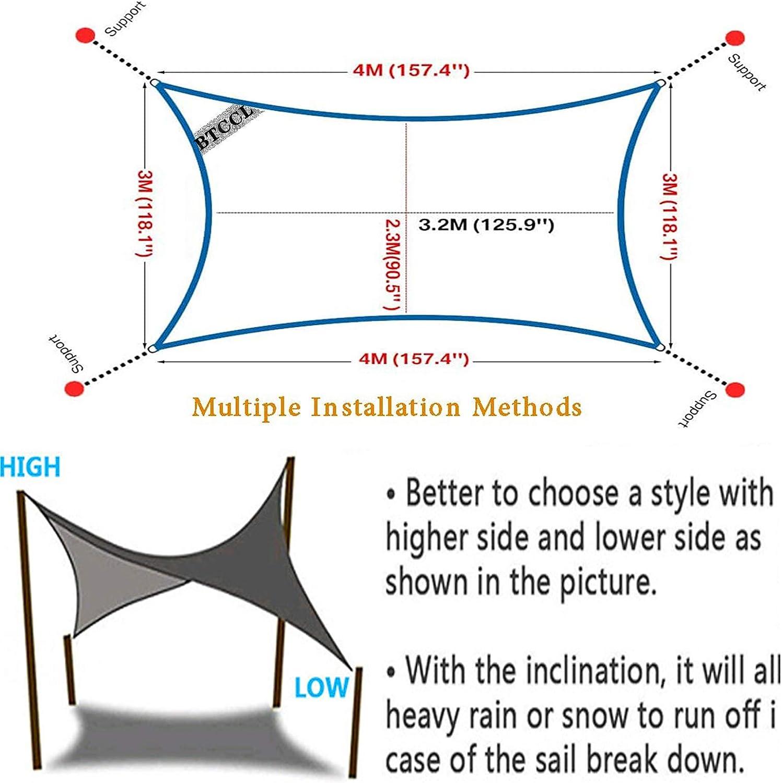 6.5x6ft Sun Shade Sail,Rectangle Shade Cloth Block Sunshade,Oxford cloth Breathable UV Block Outdoor Shade Sail,for Patio//Garden-Brown||2x1.8m